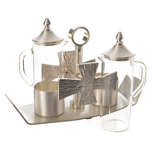 Cruets for mass, in silver-plated brass and cross 3