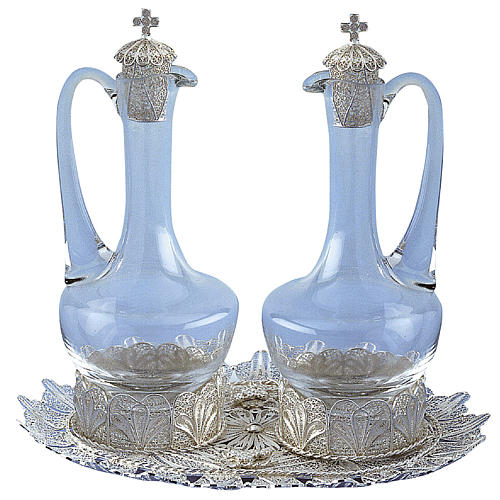 Ampolle e vassoio filigrana argento 800 1