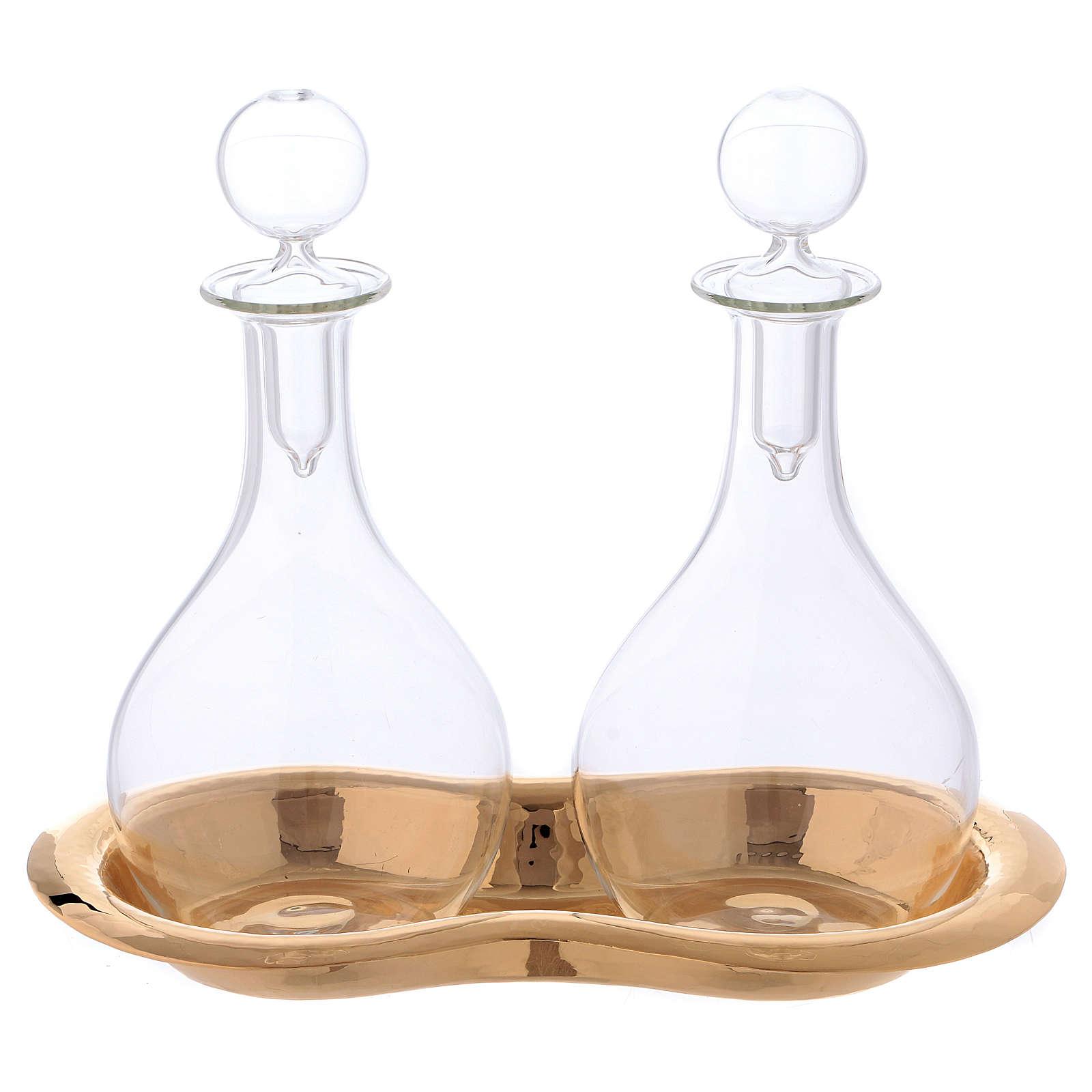 Vinajeras de vidrio con bandeja mod. Murano 4