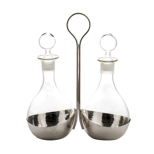 Cruet set for mass in glass, with support
