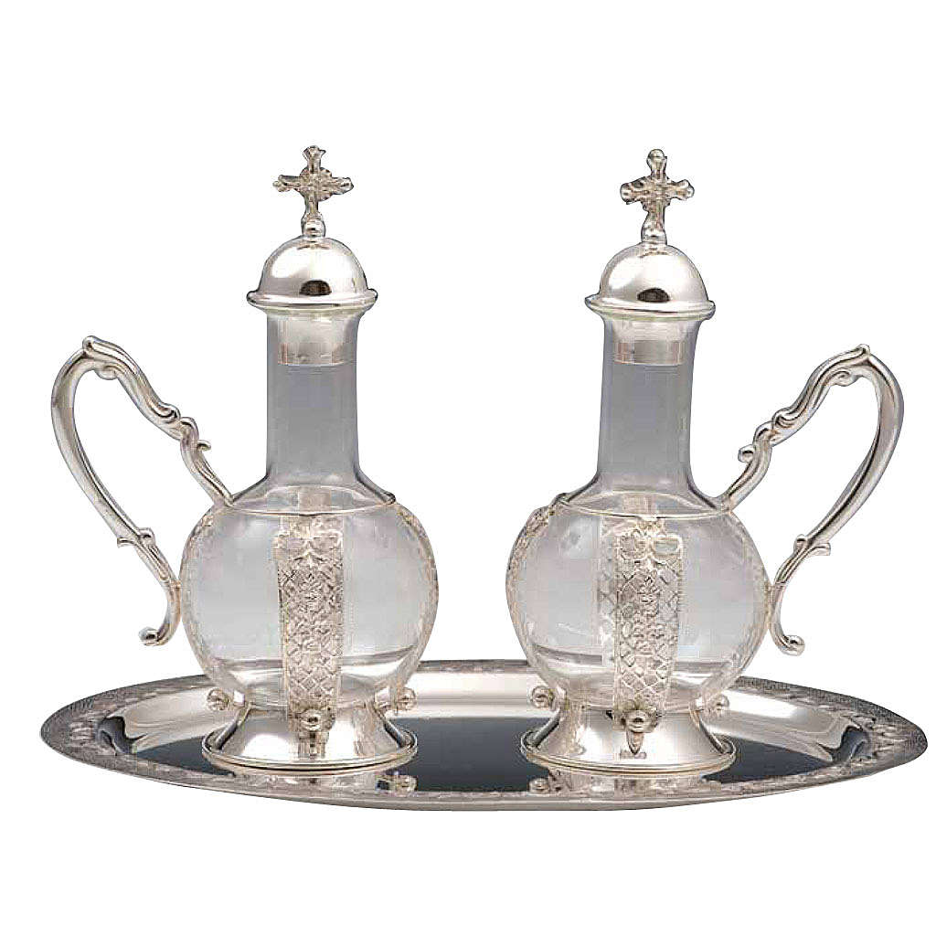 Cruet set for mass, water and wine in 800 silver 4