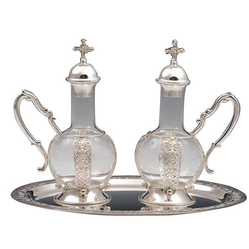Cruet set for mass, water and wine in 800 silver 1