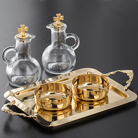 Cruet set in glass and polished brass s7