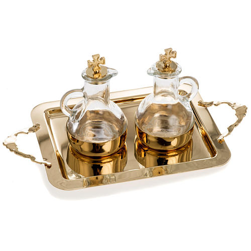 Cruet set in glass and polished brass 1