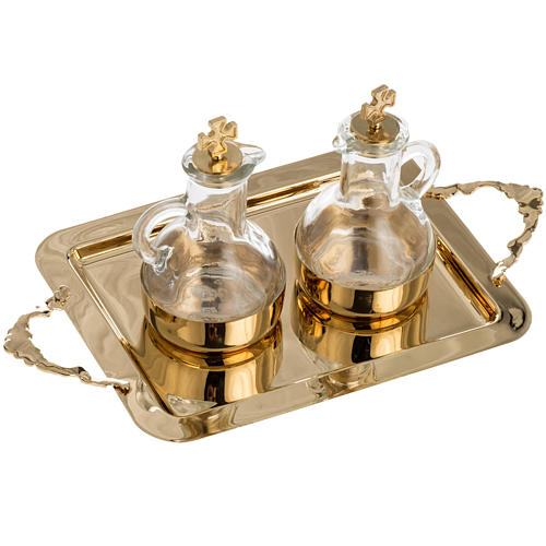 Cruet set in glass and polished brass 3