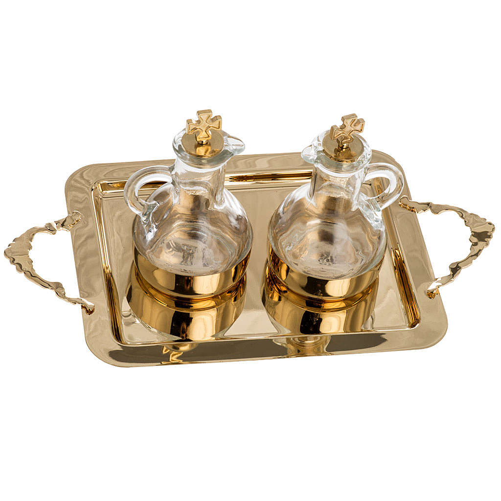Cruet set in glass and polished brass 4