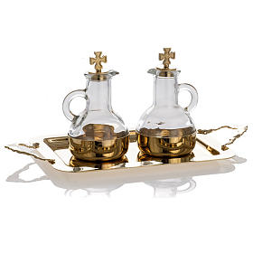 Cruet set in glass and polished brass s2