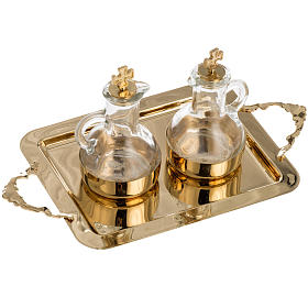 Cruet set in glass and polished brass s3
