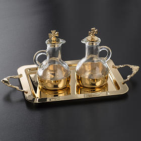 Cruet set in glass and polished brass s5