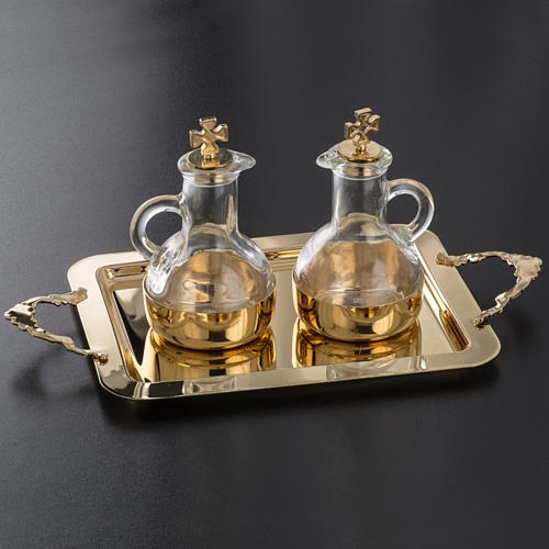 Cruet set in glass and polished brass 5