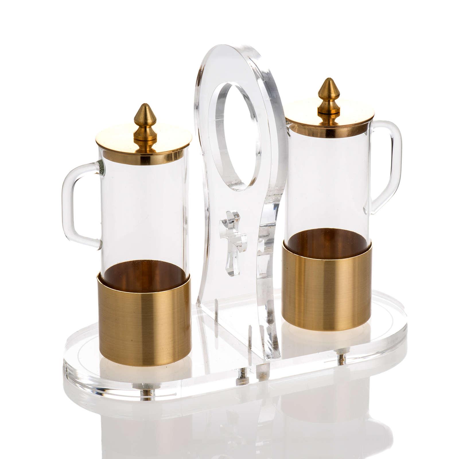 Cruet set in glass and brass with plexiglas tray 4