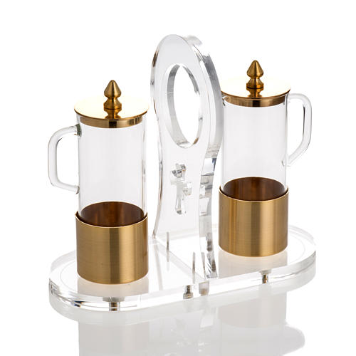 Cruet set in glass and brass with plexiglas tray 1