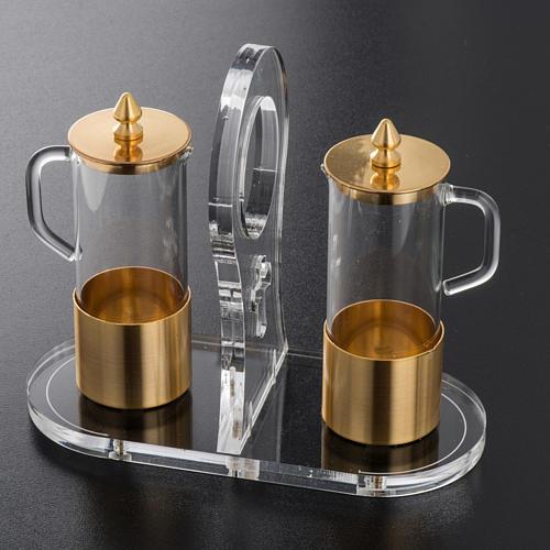 Cruet set in glass and brass with plexiglas tray 2