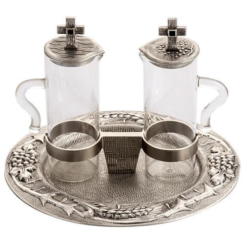 Burettes liturgiques en bronze fondu argenté 1