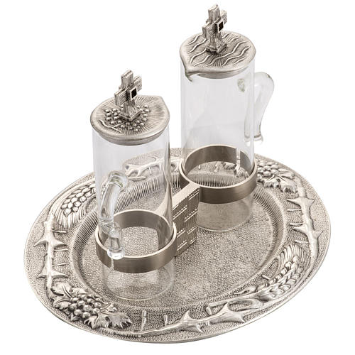 Burettes liturgiques en bronze fondu argenté 5