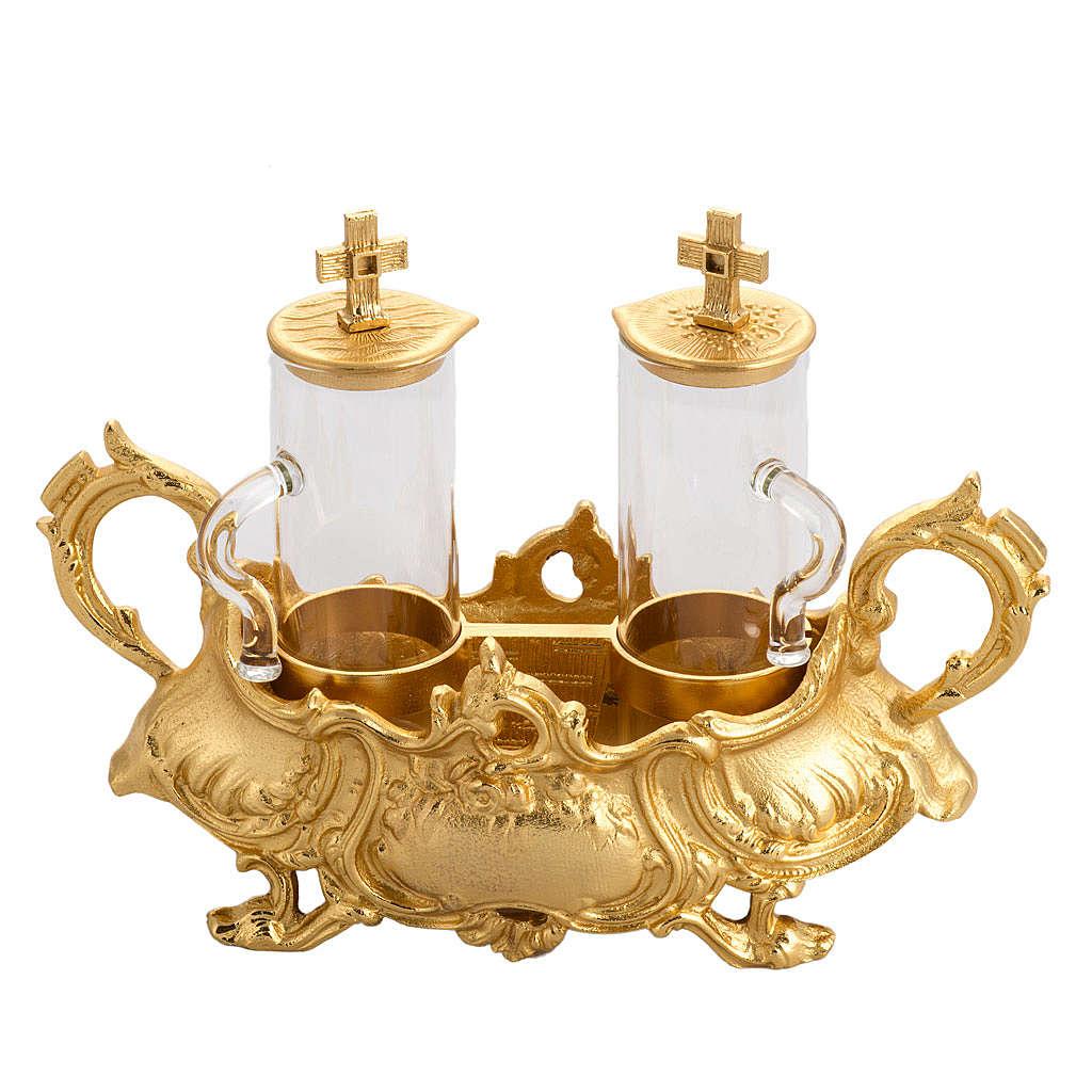 Cruet set in gold-plated molten bronze 4