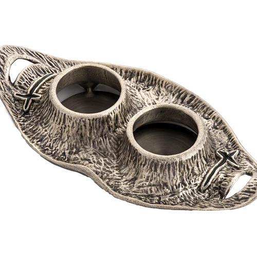 Ampolline da messa in bronzo fuso argentato 4