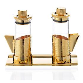 Vinajeras pequeñas y bandeja latón dorado 50 ml s1