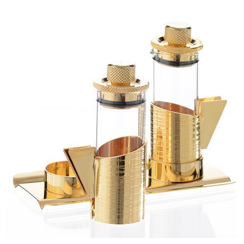 Ampolline mignon e vassoio ottone dorato 50 cc 2