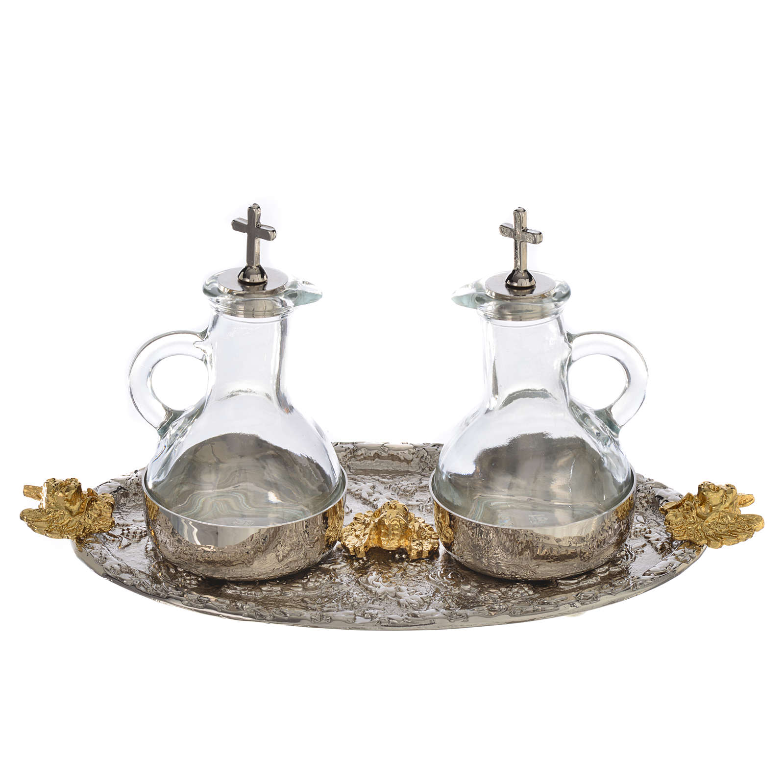 Cruets set with tray, grapes and angels 4