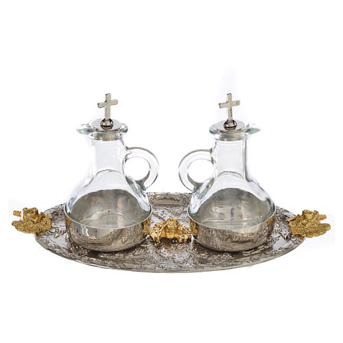 Cruets set with tray, grapes and angels 2