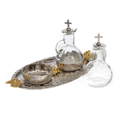 Cruets set with tray, grapes and angels 3