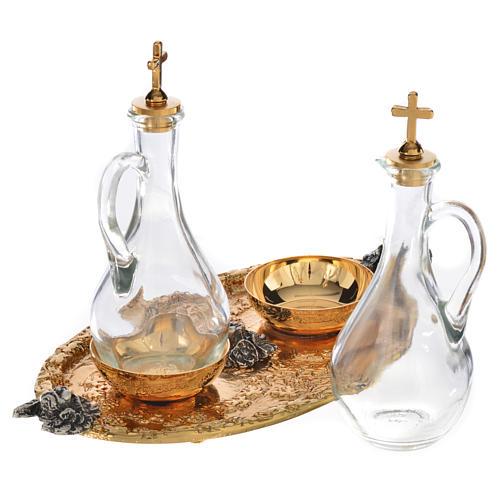 Plateau et burettes pour liturgie fusion de laiton 3