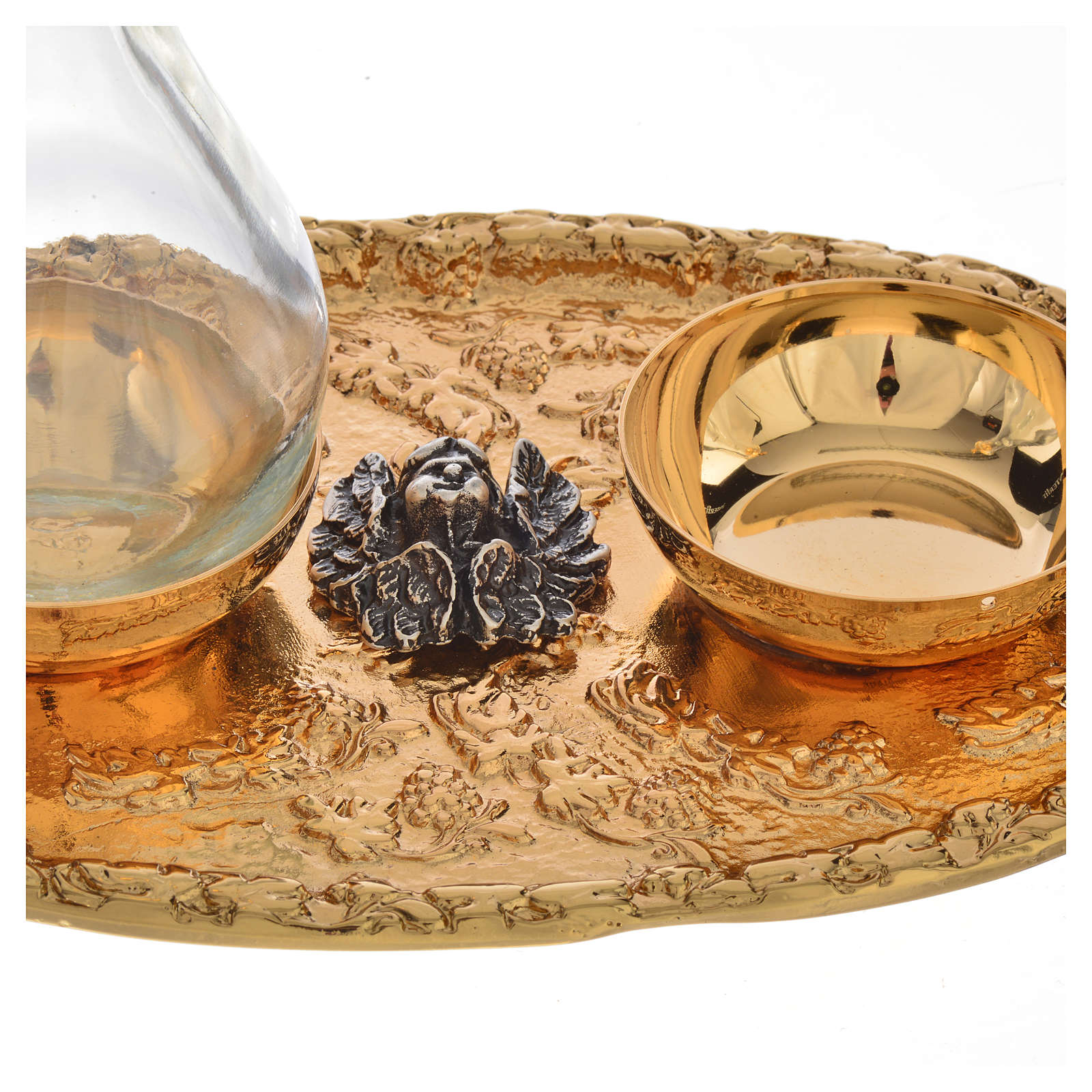 Tray with church cruets in cast brass 4