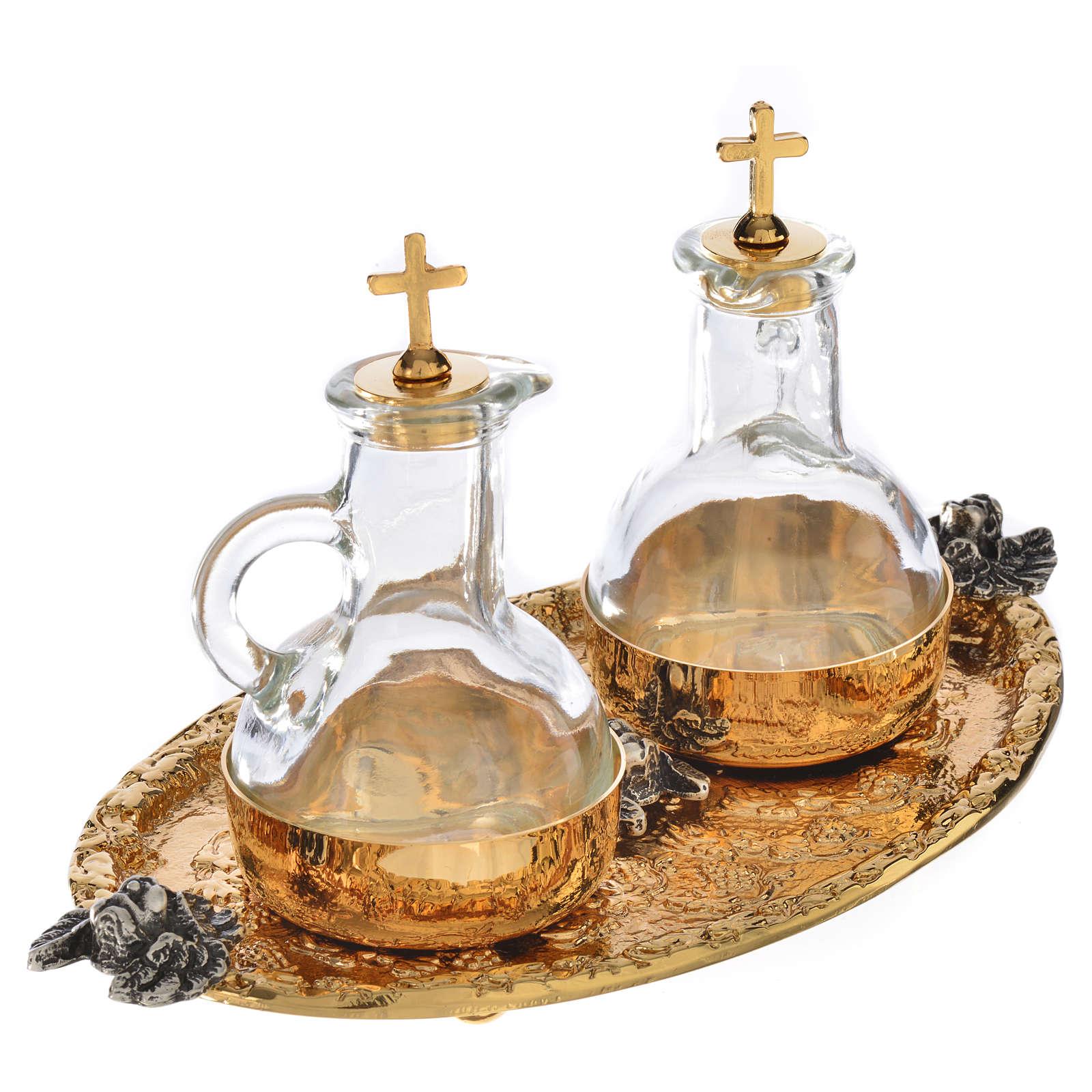 Vassoio ampolline acqua e vino fusione di ottone 4
