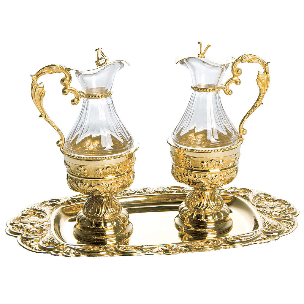 Cruet set in golden brass with floral decoration, Molina 4