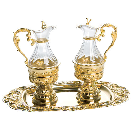 Cruet set in golden brass with floral decoration, Molina 1