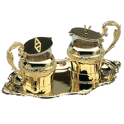 Molina cruets for the mass with gold-plated tray 1
