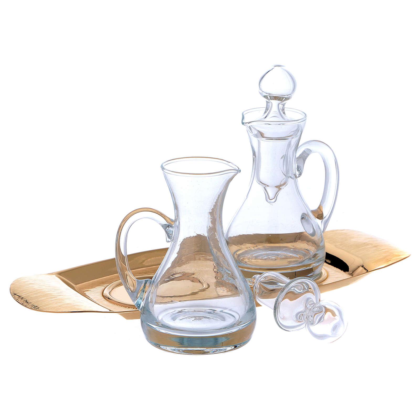 Molina cruets set in glass with brass tray 4