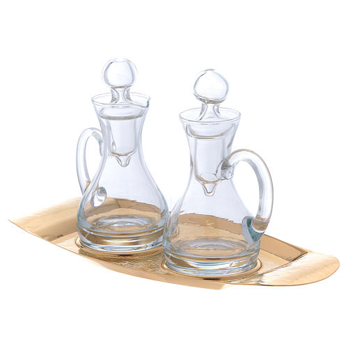 Molina cruets set in glass with brass tray 2
