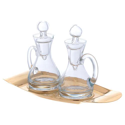 Vinajeras agua y vino con bandeja Molina vidrio y latón 2