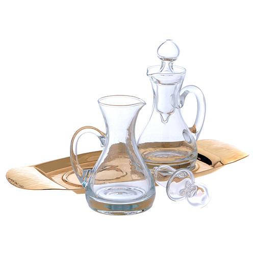 Vinajeras agua y vino con bandeja Molina vidrio y latón 3