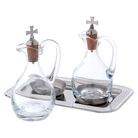 Molina cruets set for water and wine in steel and crystal s2