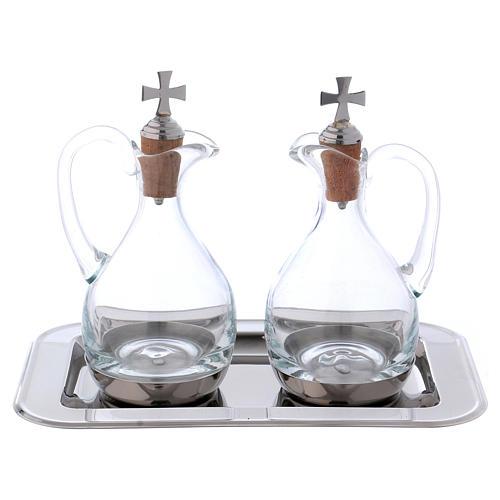 Burettes eau et vin Molina cristal et acier 1