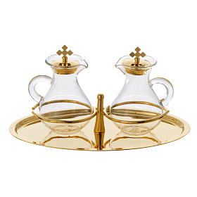 Glass cruet set with brass tray s1