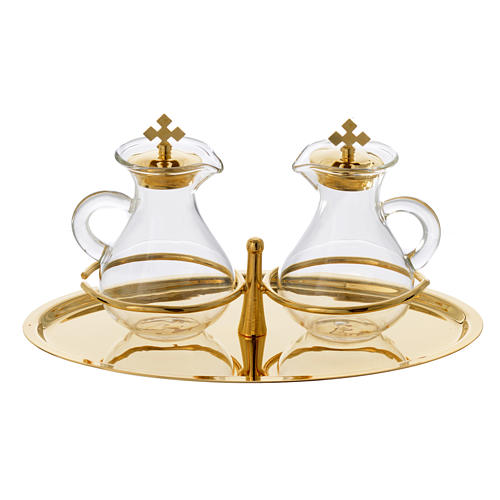 Glass cruet set with brass tray 1