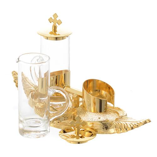 Vinajeras Palma 100 ml bandeja bronce dorado 2