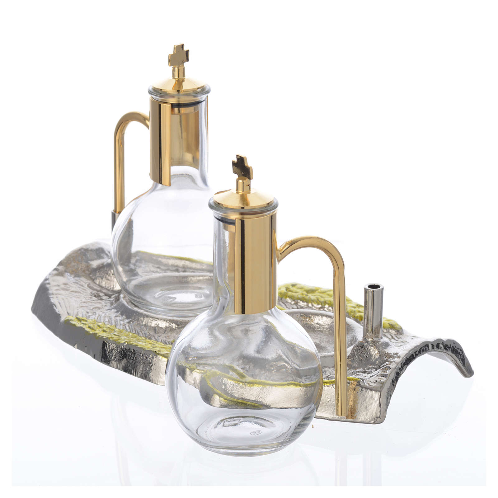 Cruet set with brass tray, wheat model 4