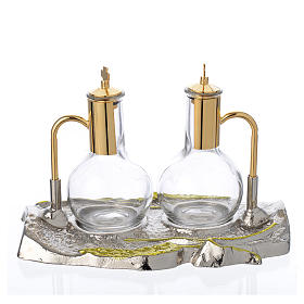 Cruet set with brass tray, wheat model s1