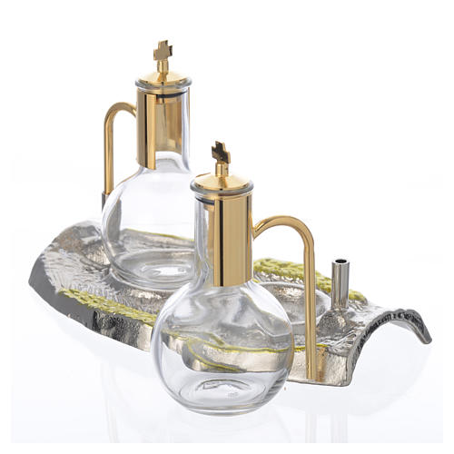 Cruet set with brass tray, wheat model 3
