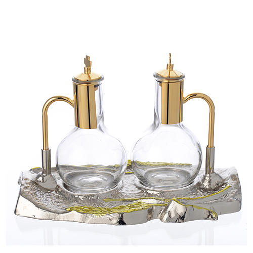 Cruet set with brass tray, wheat model 1
