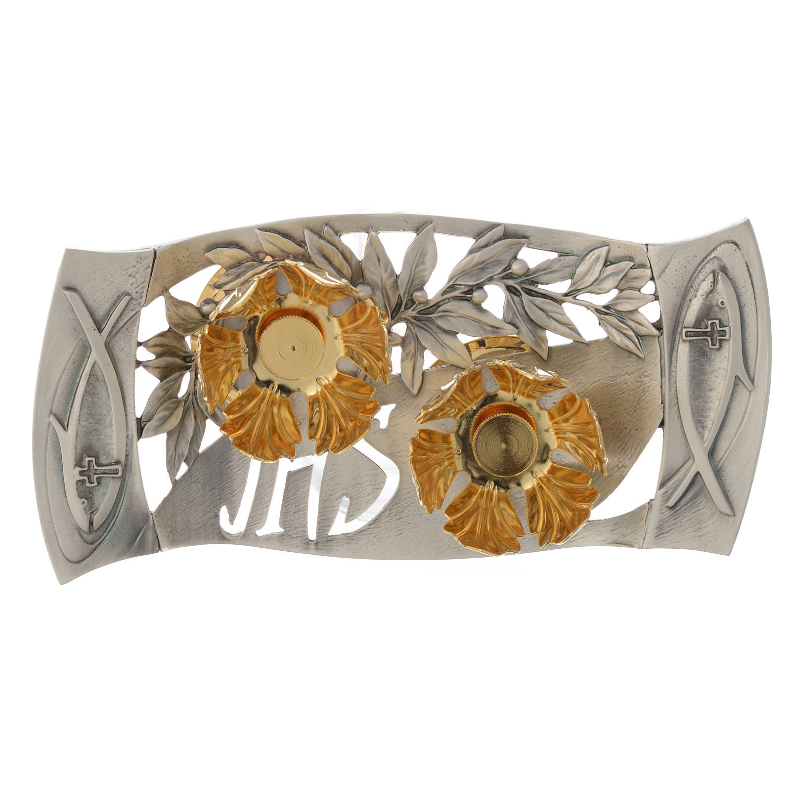 Mass cruets with tray in pewter with leaves and fish 4