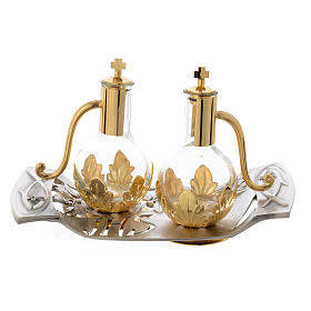 Mass cruets with tray in pewter with leaves and fish s1