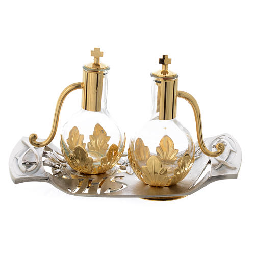 Mass cruets with tray in pewter with leaves and fish 1