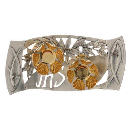 Mass cruets with tray in pewter with leaves and fish 3