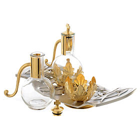 Cruet set with pewter tray with leaves and fish s2